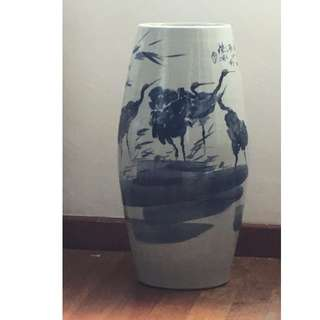 Old Floor Vase with Chinese painting of Cranes - Longevity