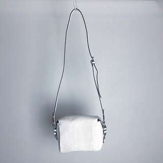ZARA White Croc Textured Crossbody