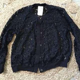 NEW H&M Lace Bomber Jacket Size M