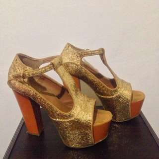 Gold Glitter Platform Heels