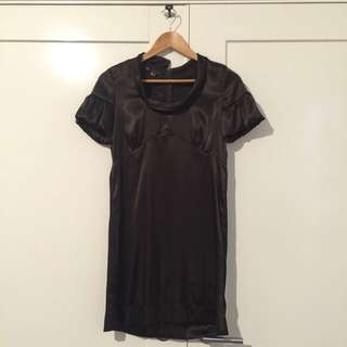 Dark Brown Silk Dress (Size 6 Or Small)
