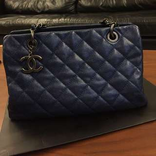 Authentic Chanel Blue Caviar Tote with Pewter Hardware