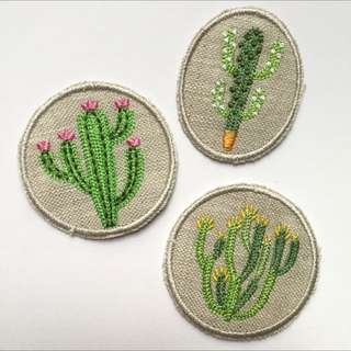 🏜 Cactus On Canvas Iron On Patches