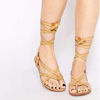 Glamorous Tan Tie Up Flat Gladiator Sandals 羅馬 歐美 涼鞋 國外代購