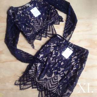 Blue and White Lace Top & Skirt Set