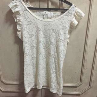White Lacey Top From Korea