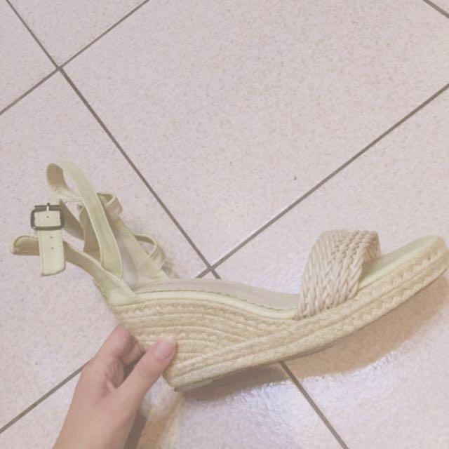 怒降 🔱 正韓 編織 草編 楔型鞋