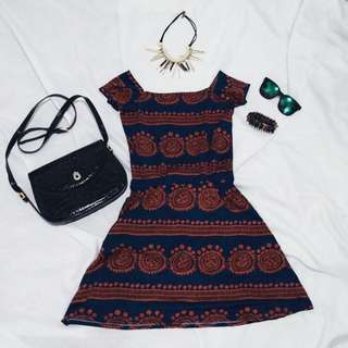 Off Shoulder Aztec Dress