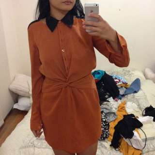 Vintage Burnt Orange/Brown Dress