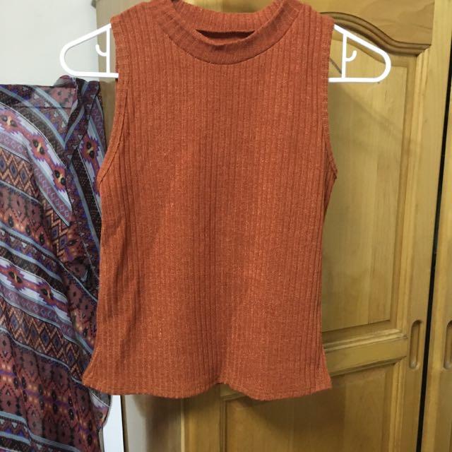 泰國帶回 復古橘色小高領背心上衣