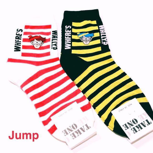 韓國 復古威力先生系列中筒襪