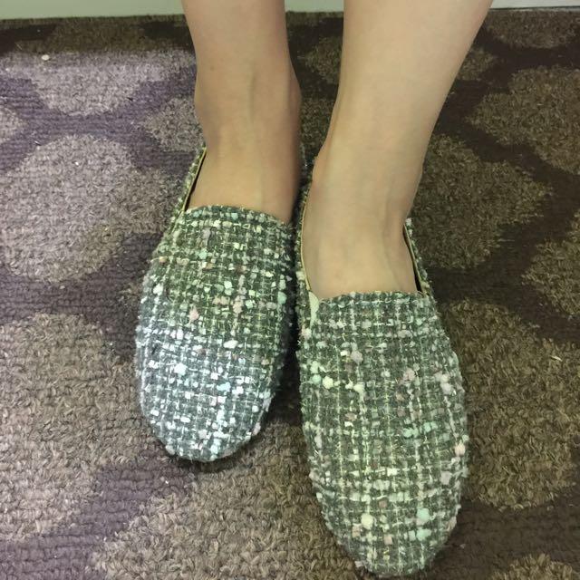 毛呢編織 休閒鞋 平底鞋 懶人鞋