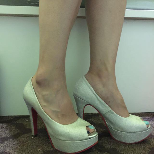 閃亮亮✨銀蔥 紅底 防水台 細跟 高跟鞋👠