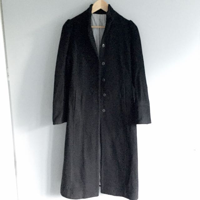 Free shipping Ankle Length Black Wool Jacket