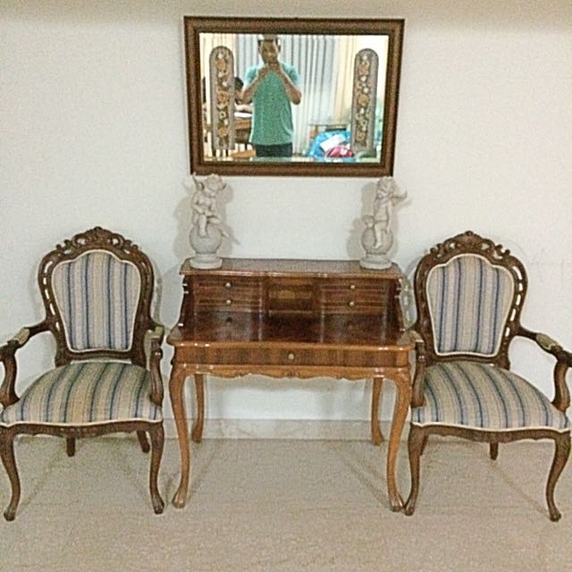 Antique Wooden Table, 2 Chairs
