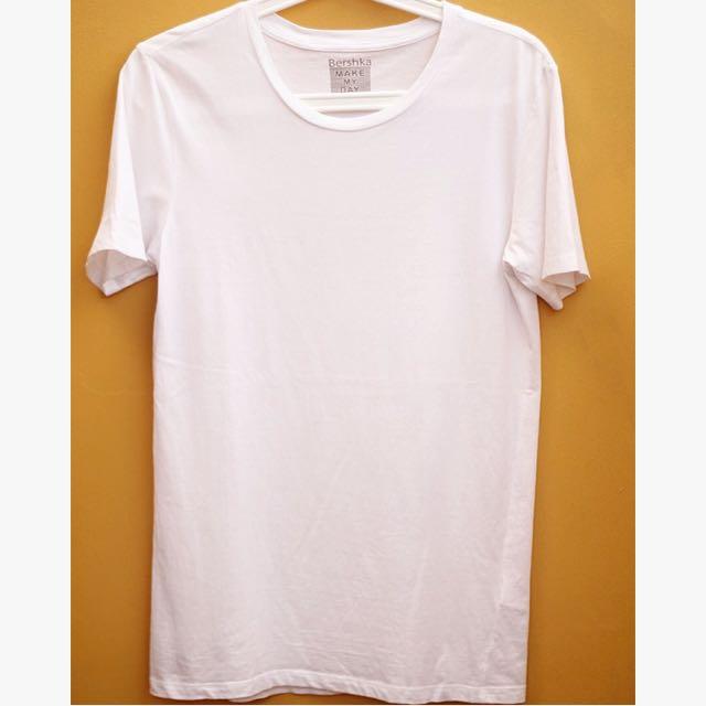 Bershka T-Shirt Putih Pria
