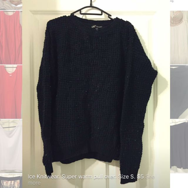 Black Knit Pull Over. Size S.