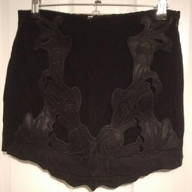Black Lace And Mesh Skirt Size 8