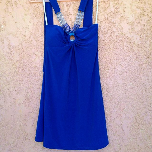 Blue Beaded Halter Dress