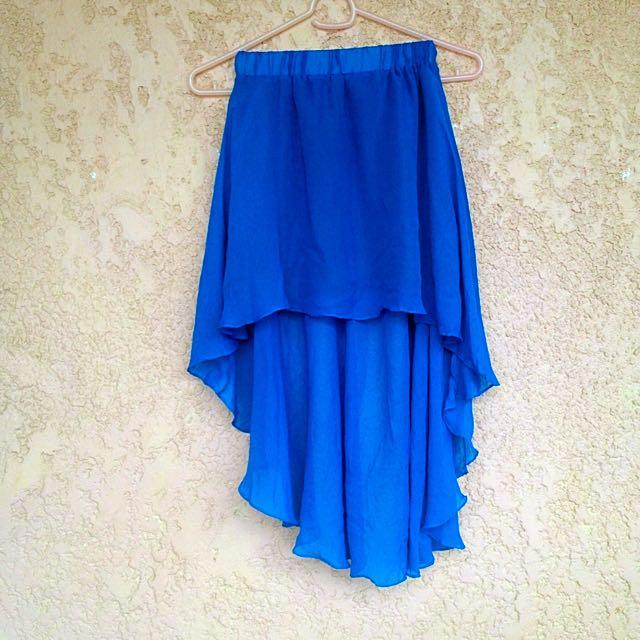 Blue Chiffon Mullet Skirt