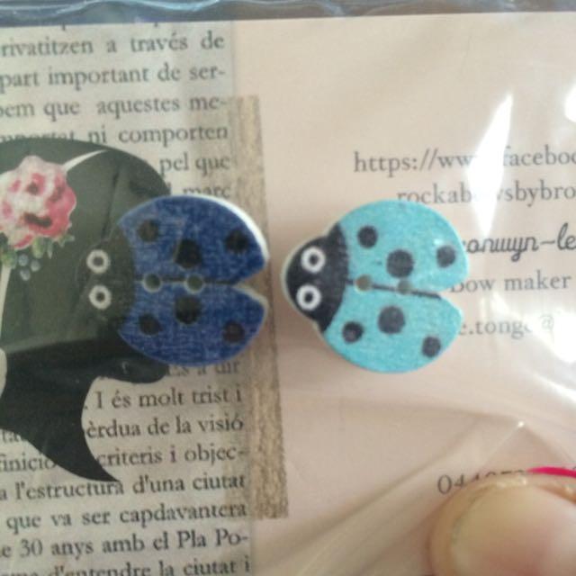 Blue Lady Bug Earrings