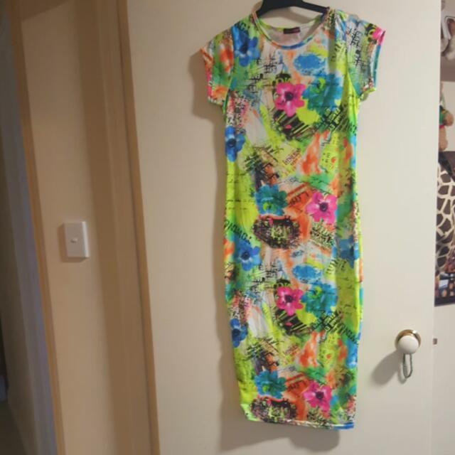 Bright Print Midi Bodcon Dress