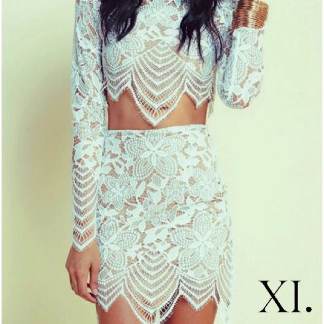 Cream and White Lace Top & Skirt Set