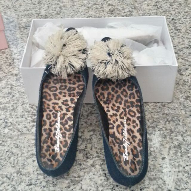 Denim Flat Shoes with Pom Pom