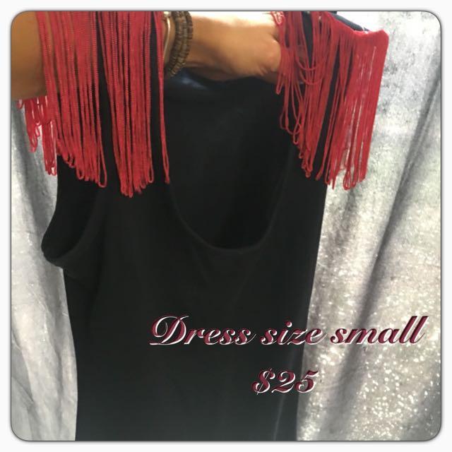 Dress With Fringe Sleeves