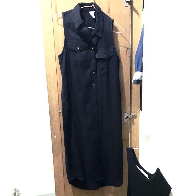F21 無袖 超長 襯衫 洋裝(兩穿)