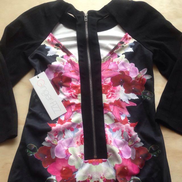 Floral 3/4 Sleeve Mini Dress