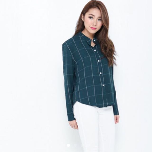 Forest Green And White Grid Shirt