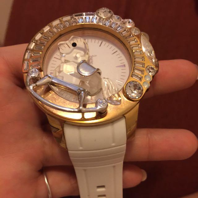 迦堤galtiscopio 經典 水晶 旋轉 木馬 手錶 玫瑰金 白 9成新 港星最愛 張柏芝 腕錶 精品 便宜讓出