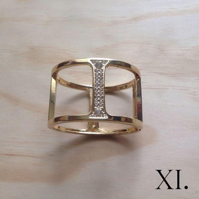 Gold And Diamanté Cuff Bracelet