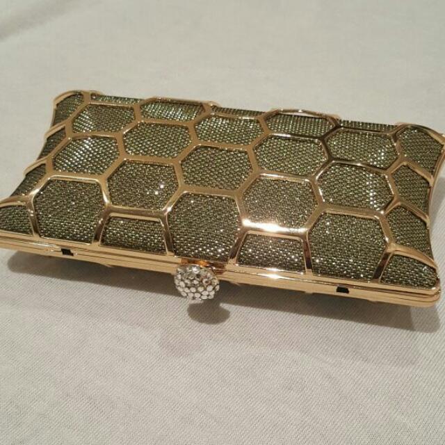 Gold Hard Case Clutch