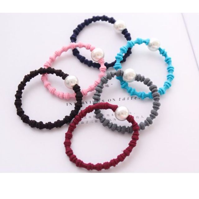 [Hair-tie] Colourful Hairtie with Pearl