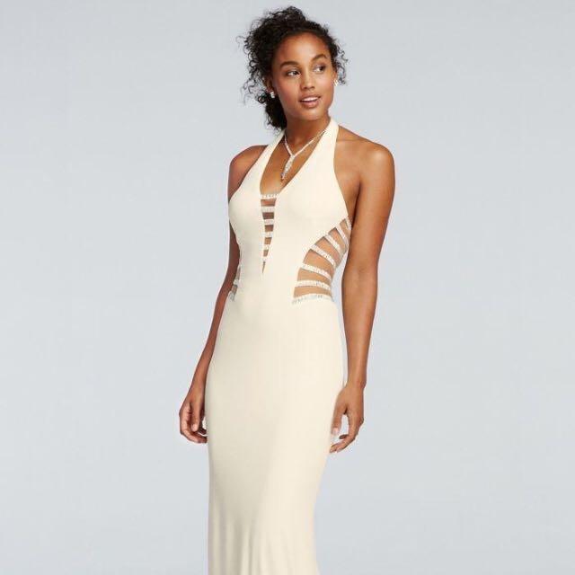 Halter Illusion Cutout Prom Dress