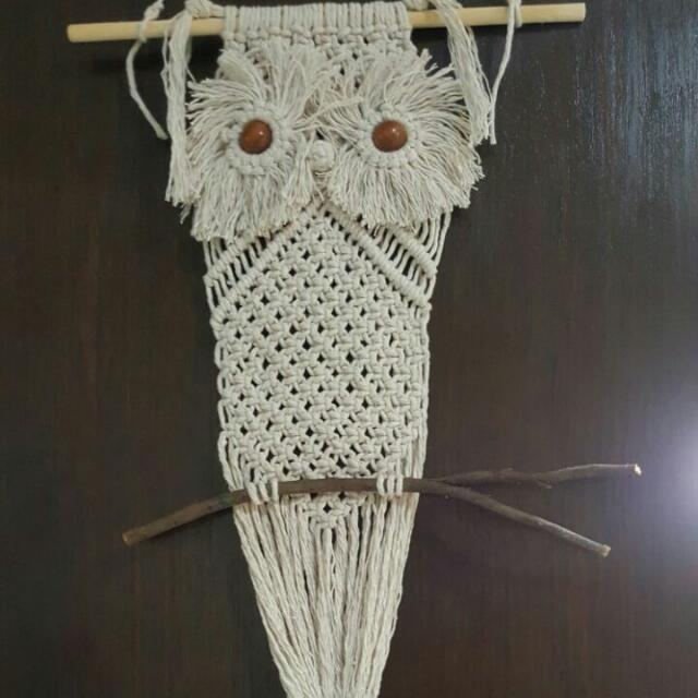 👉🆒🍹👍💖Handmade Vintage Peace And Harmony Macrame Owl Wall Decor