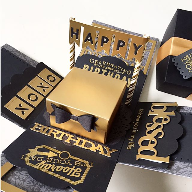 Happy Birthday Explosion Box Card In Gold And Black