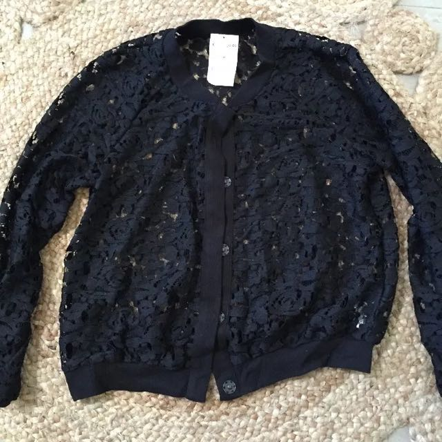NEW H&M Lace Bomber Jacket Size M