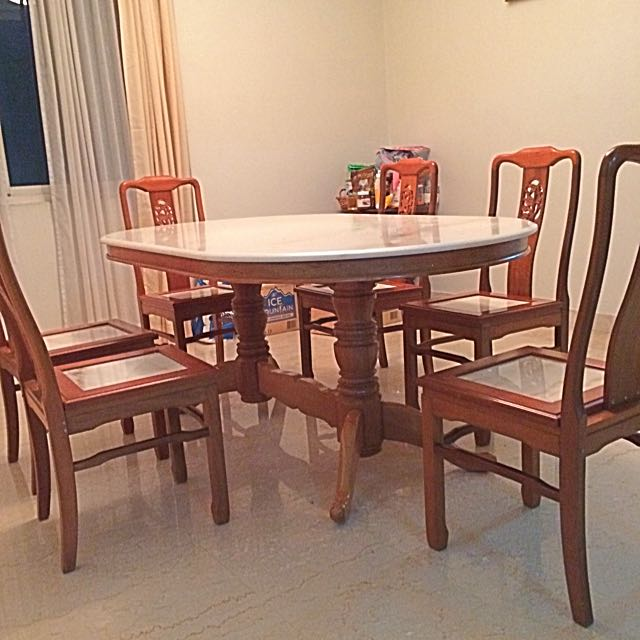 """Marble Dinning Table """"6 Chairs"""" Teak Wood"""