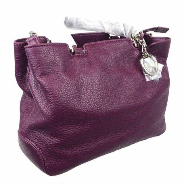 Michael Kors Anabelle Medium Top Zip Tote Dark Purple Silver Hardware New Color