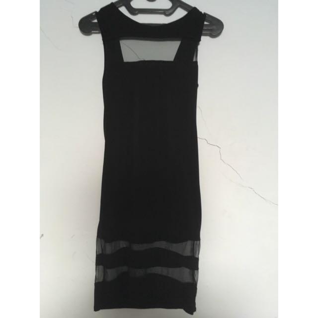 Midi Mesh Black Dress