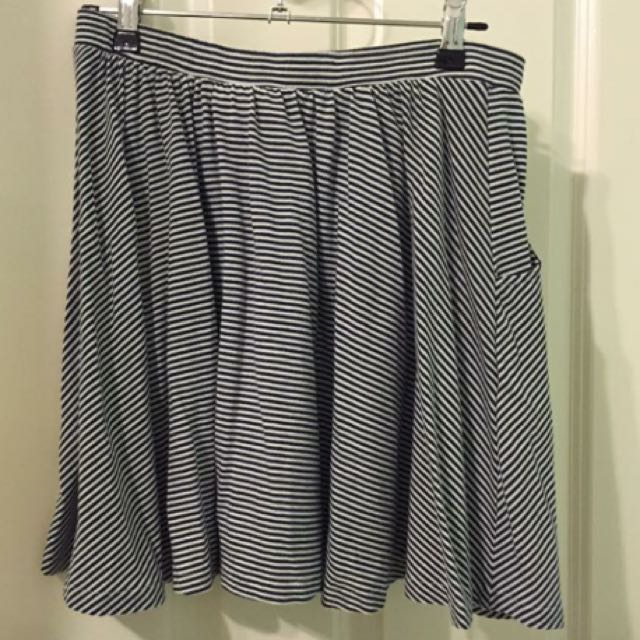 Navy And White Striped Skirt. Size 10.