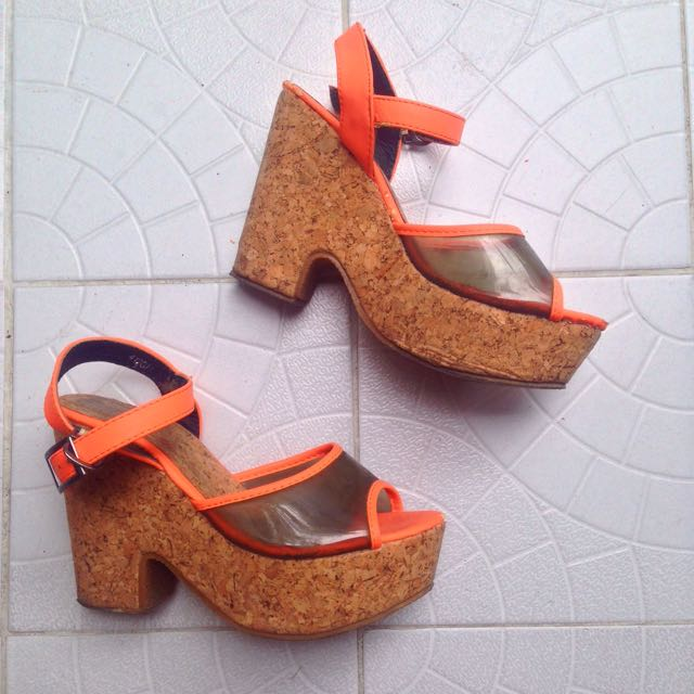 Neon Orange Cork Wedges