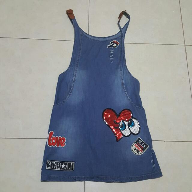 Overall Dress Jeans With Stickers