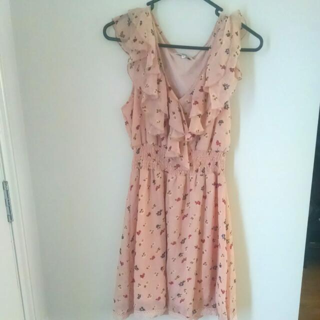 Peach Floral Dress Sz10