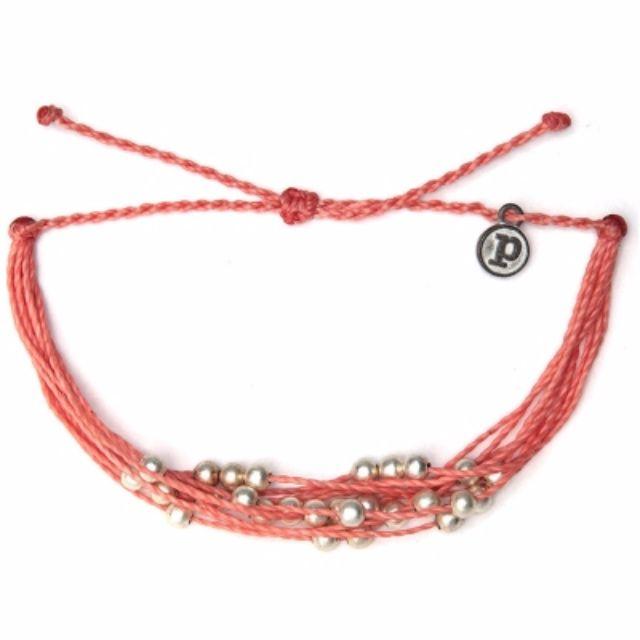 Pura Vida知名美國衝浪品牌銀珠系列重量感粉色可調式防水衝浪手鍊