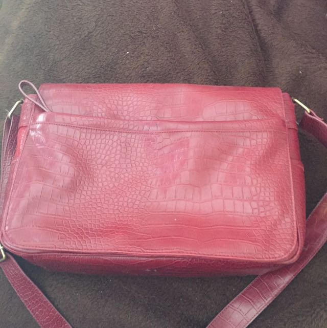 Red Leather Feel Laptop Bag