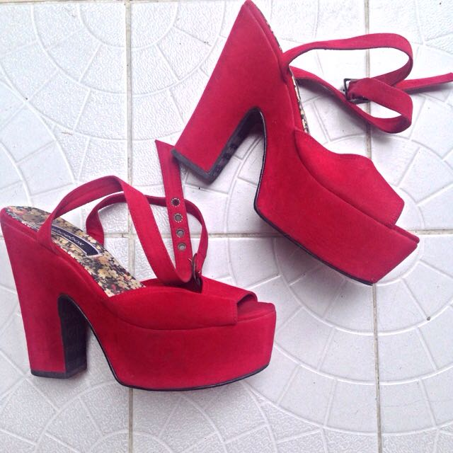 Red, Suede, Platform Heels From Shoebox